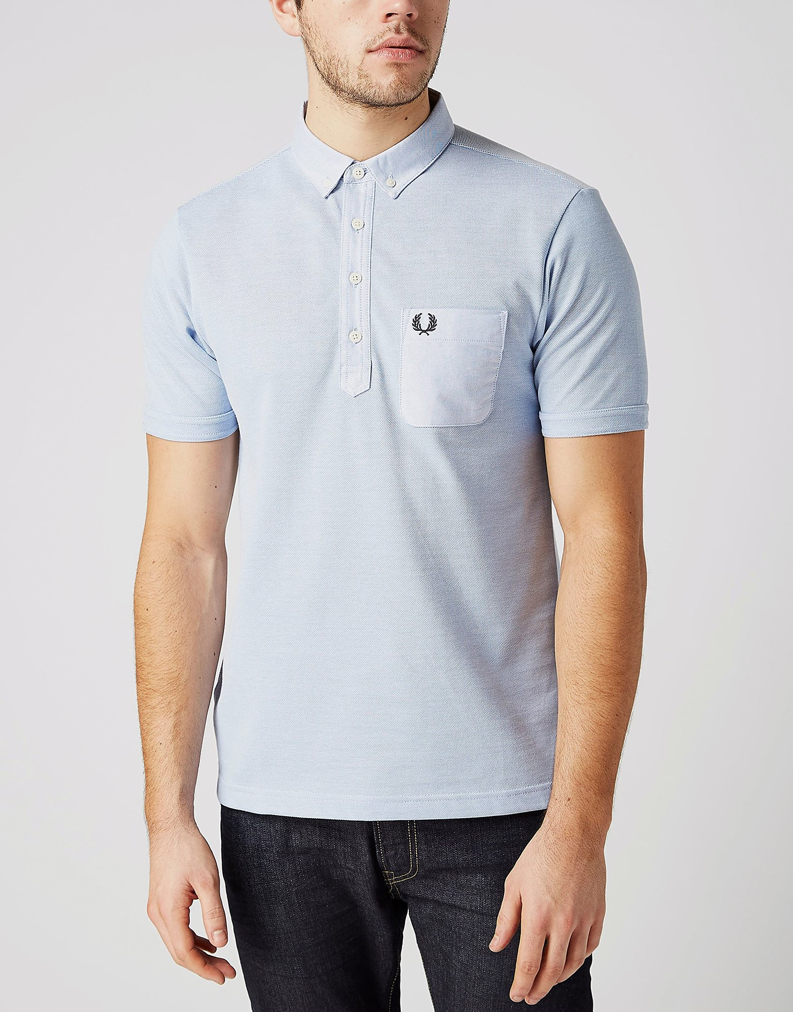 Fred Perry Oxford Pique Mix Polo Shirt  Sky Blue Sky Blue