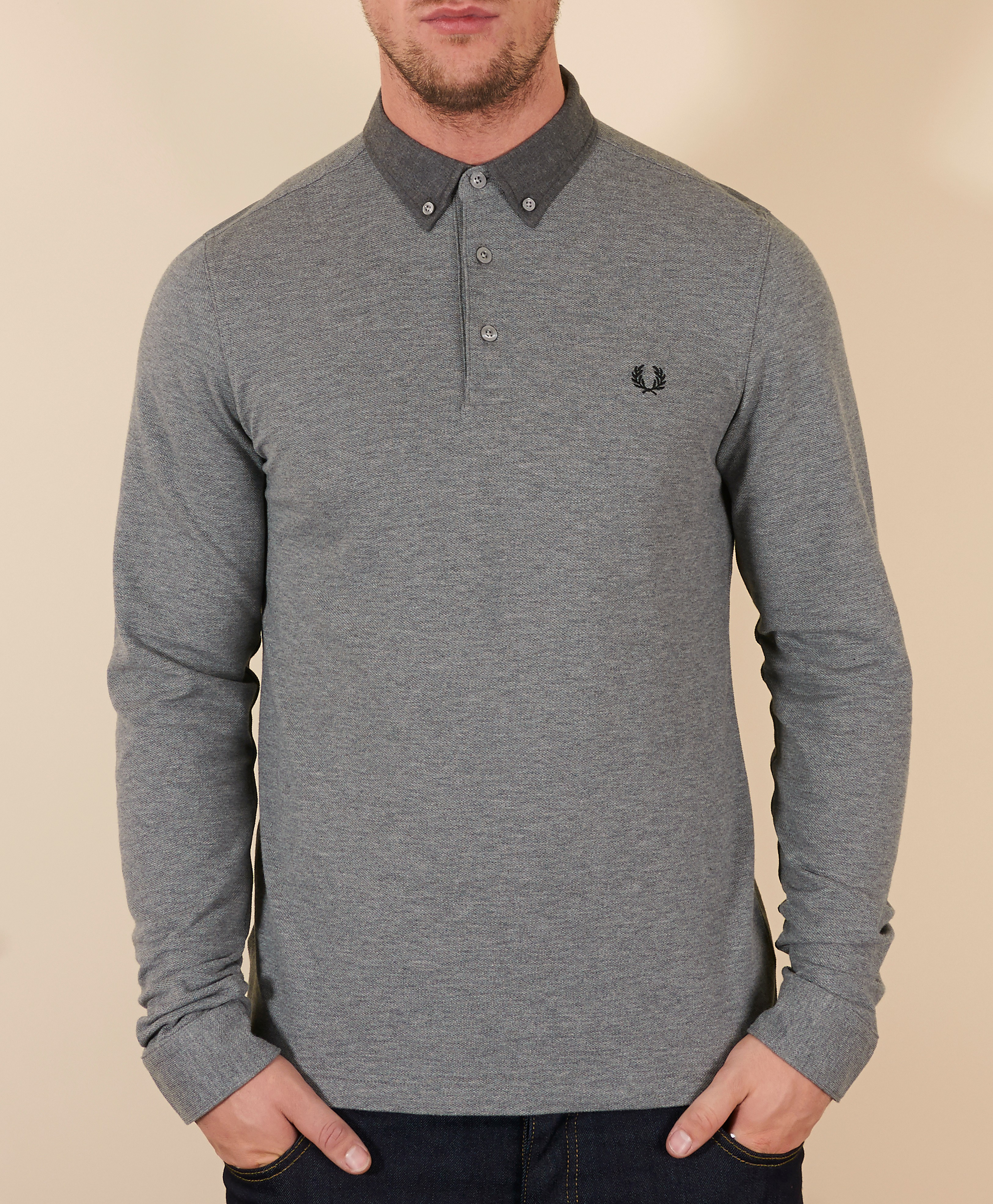 Fred Perry Marl Trim Long Sleeve Polo Shirt
