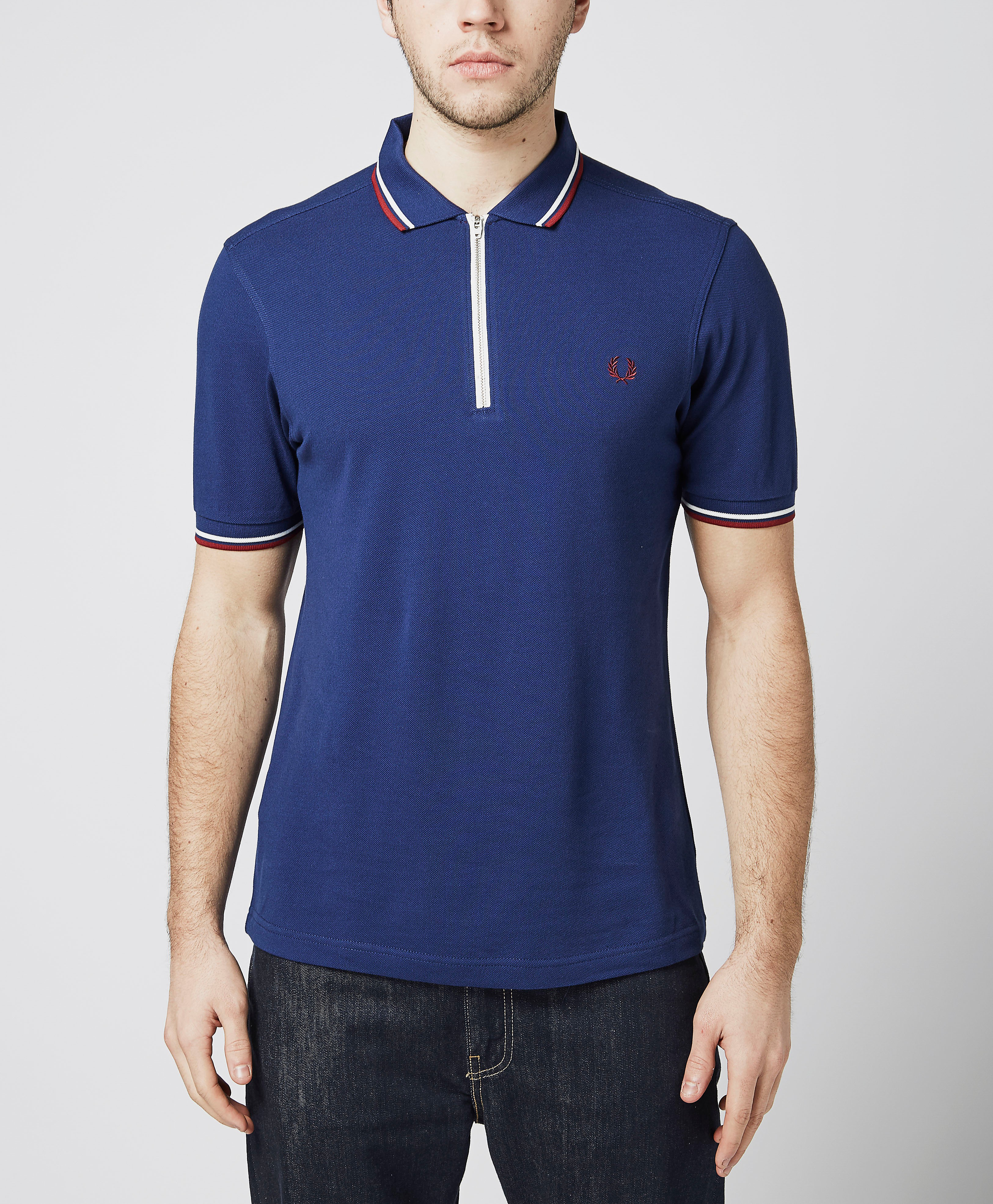 Fred Perry Zip Pique Twin Tipped Polo Shirt  Navy Navy