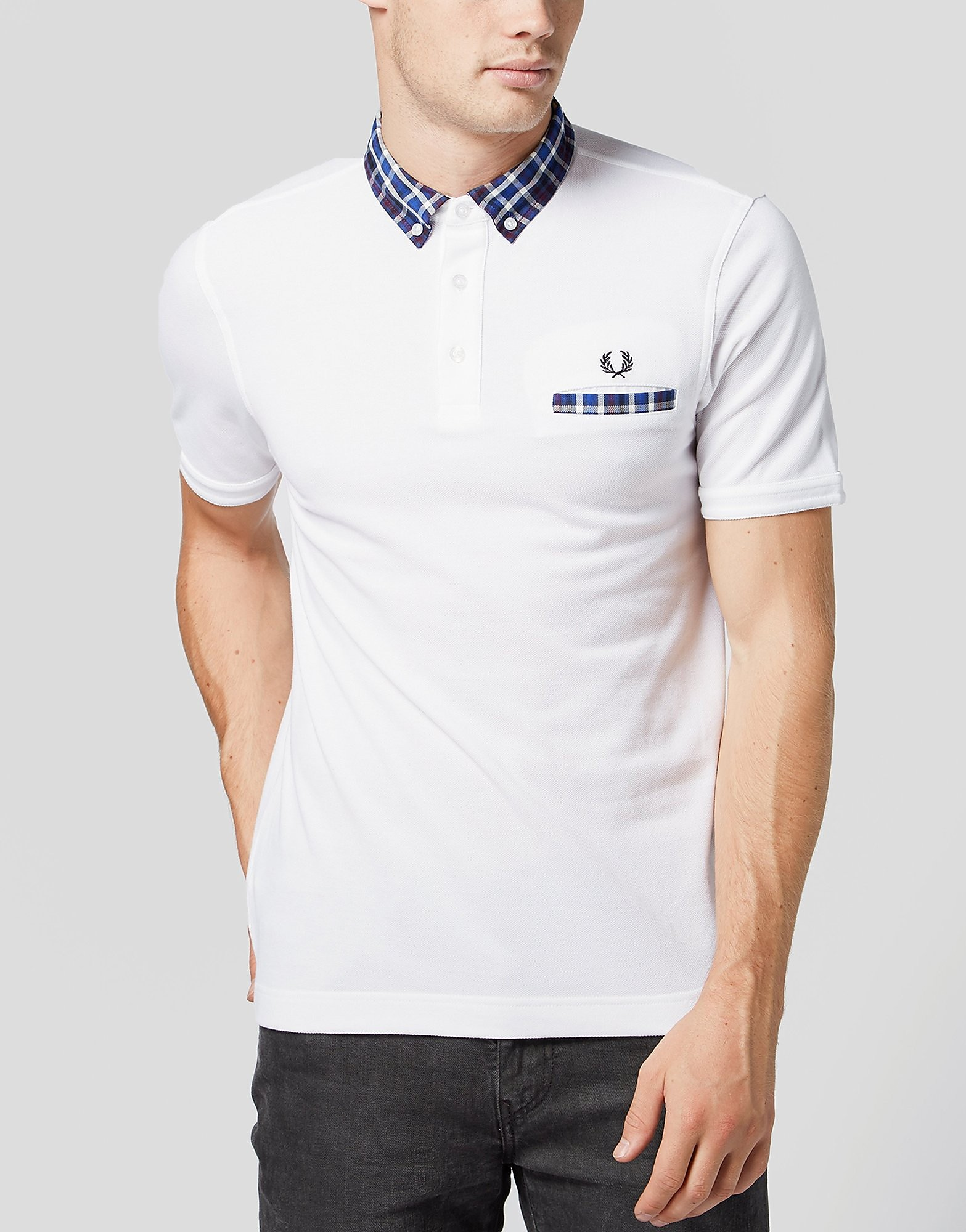 Fred Perry Herringbone Collar Polo Shirt  Exclusive  WhiteBlue WhiteBlue