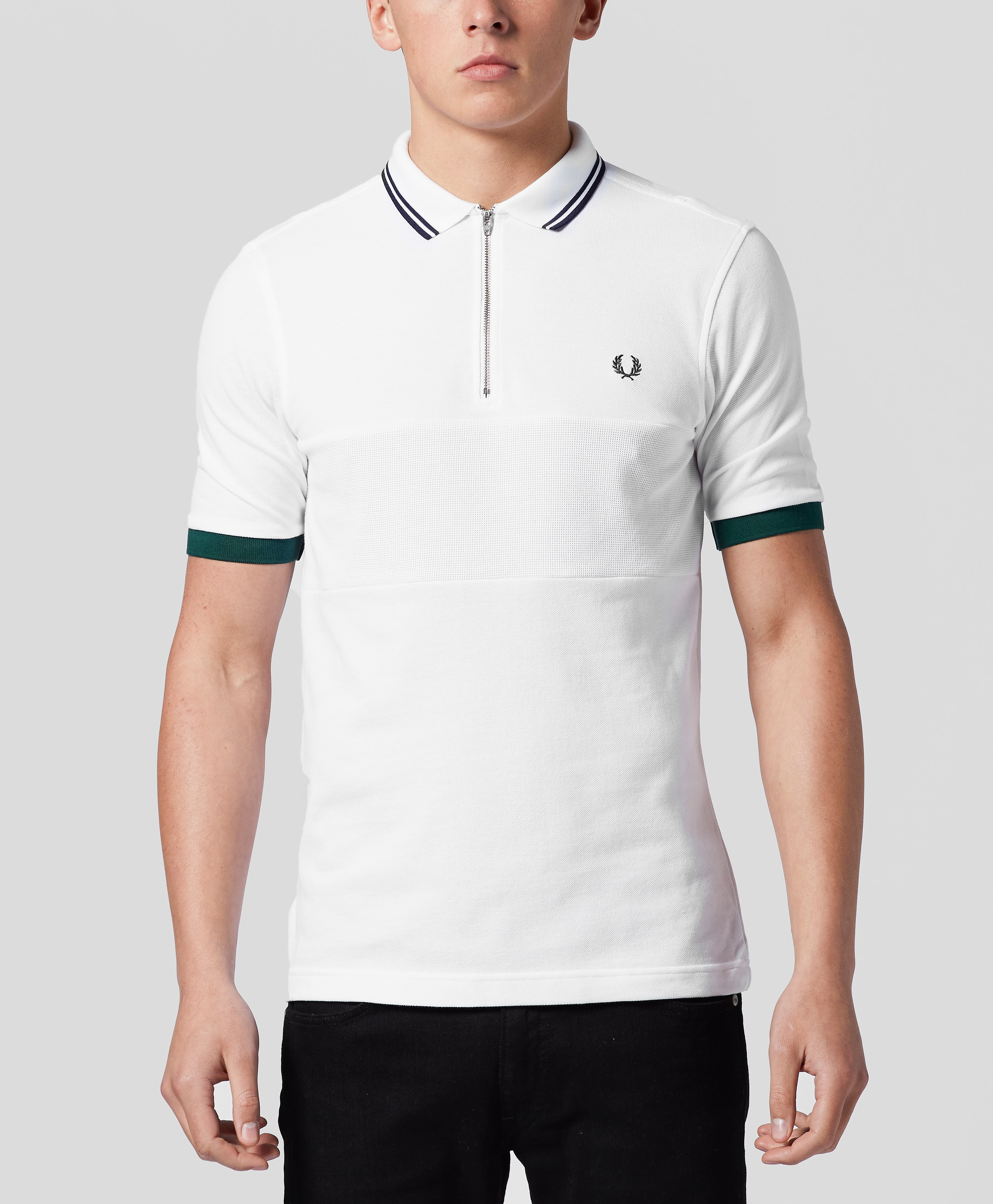 Fred Perry Bradley Wiggins Zip Textured Polo Shirt  White White