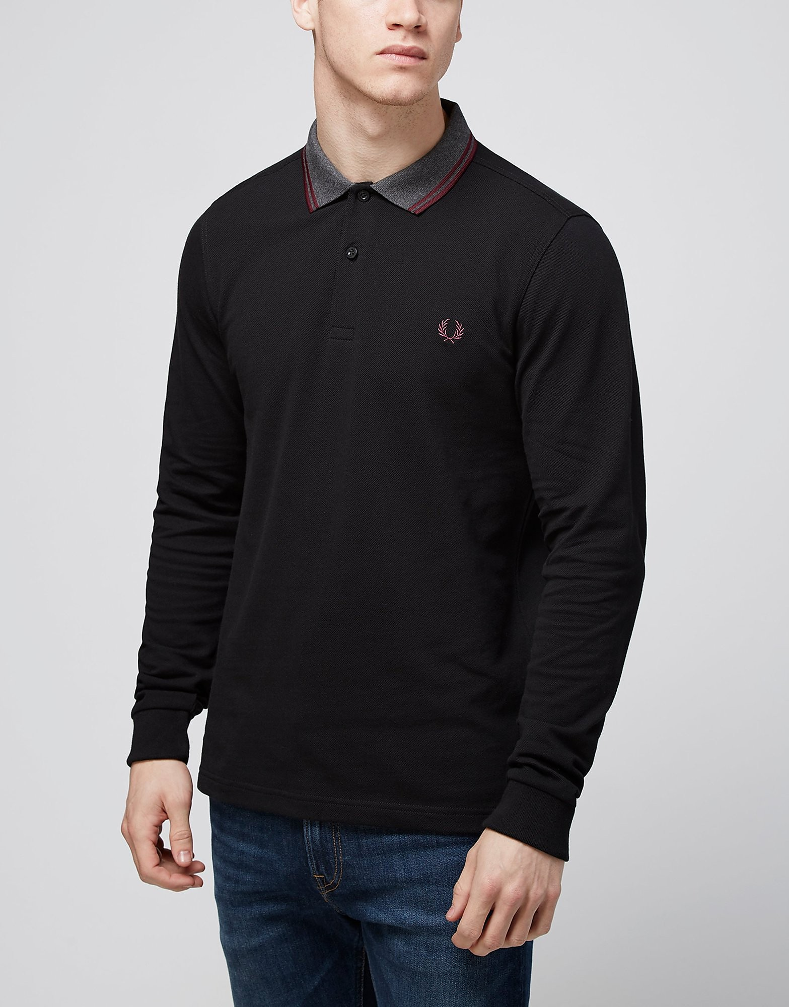 Fred Perry Contrast Collar Long Sleeved Polo Shirt  Black Black