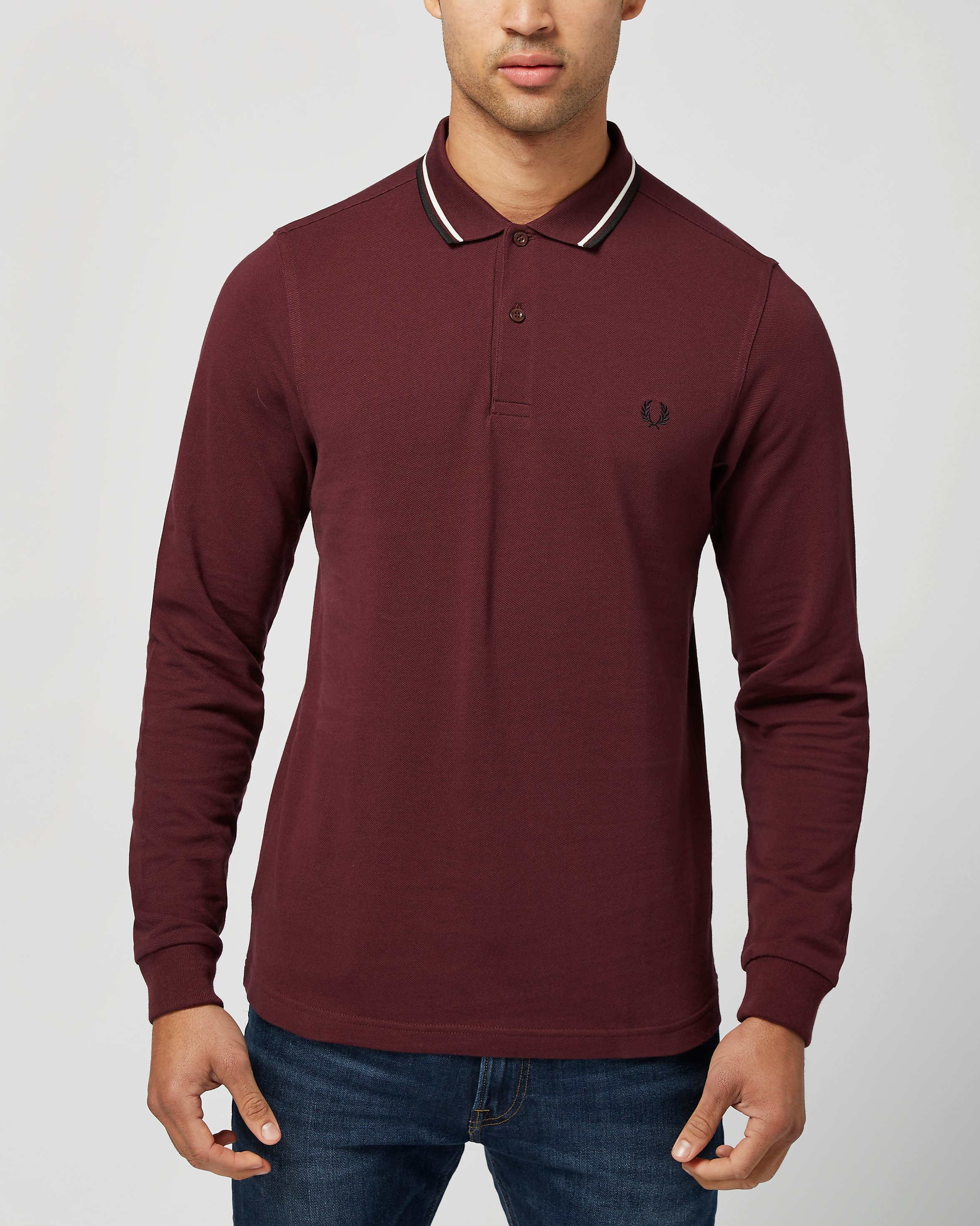 Fred Perry Long Sleeve Twin Tip Polo Shirt  Burgundy Burgundy