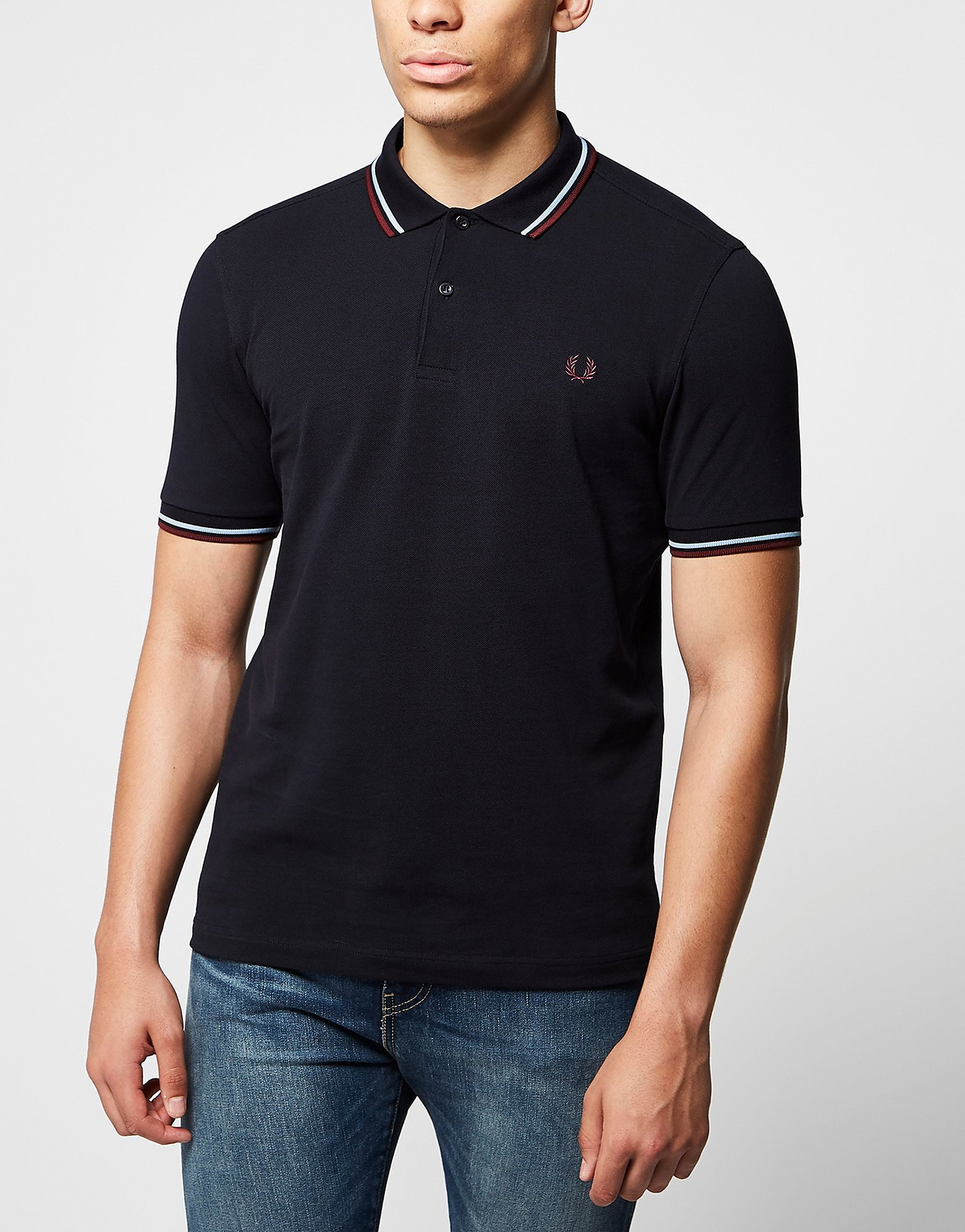 Fred Perry Twin Tip Polo Shirt  BlueRed BlueRed