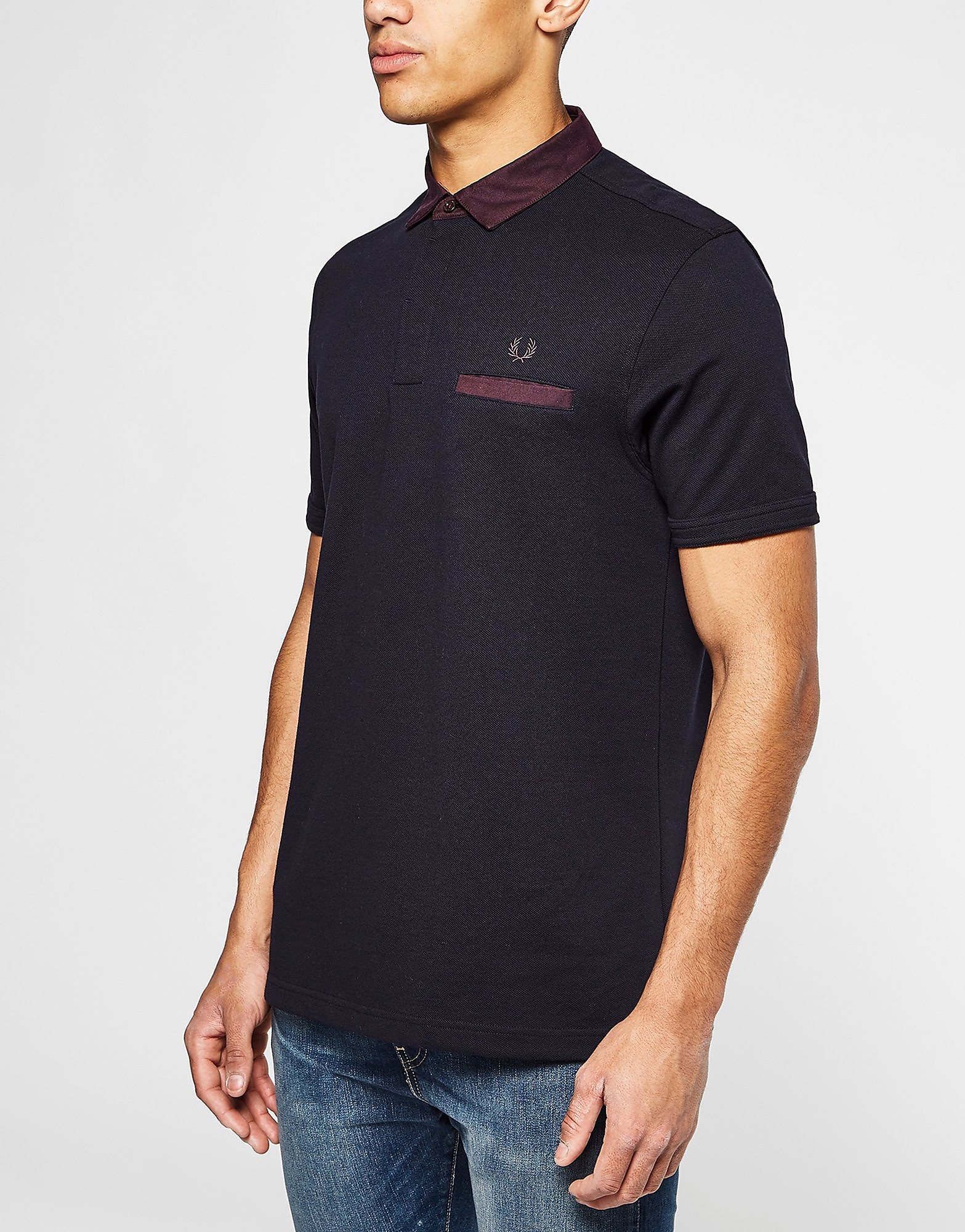 Fred Perry Oxford Trim Collar Polo Shirt  Blue Blue