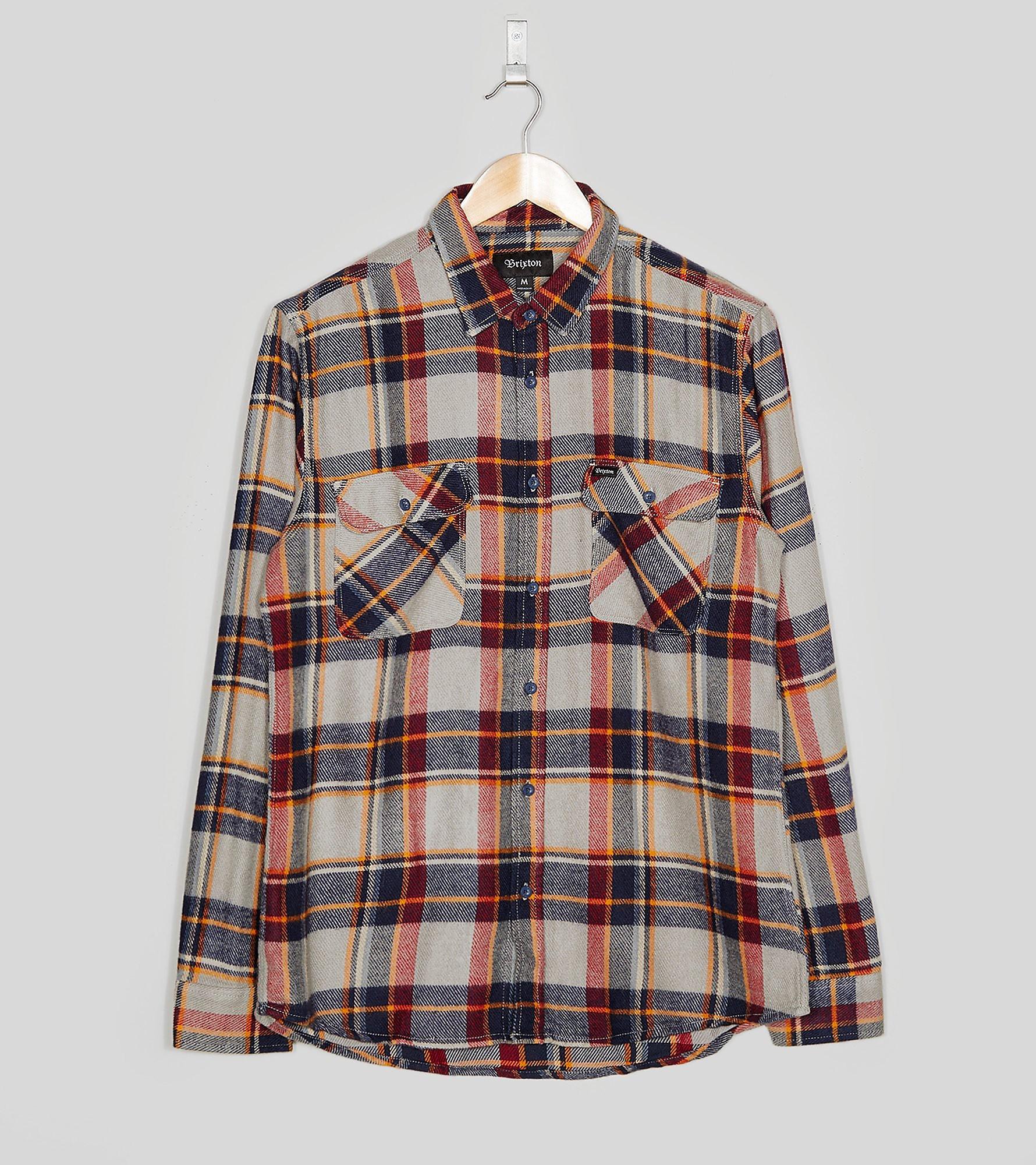 Brixton Long Sleeved Bowery Checked Shirt, Blue/Red/Orange