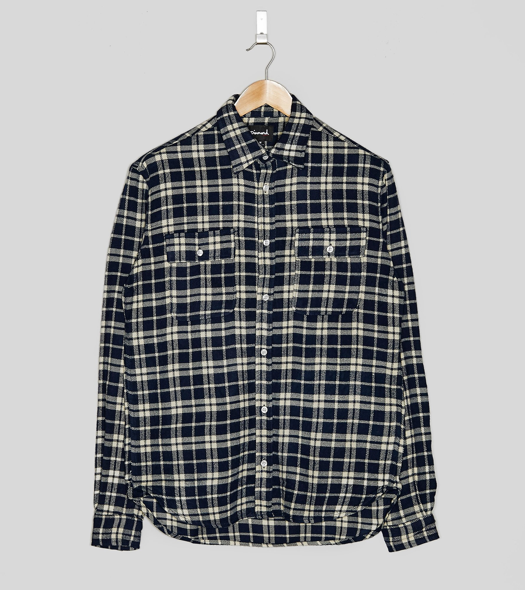 Diamond Supply Baker Plaid Long Sleeved Shirt, Navy
