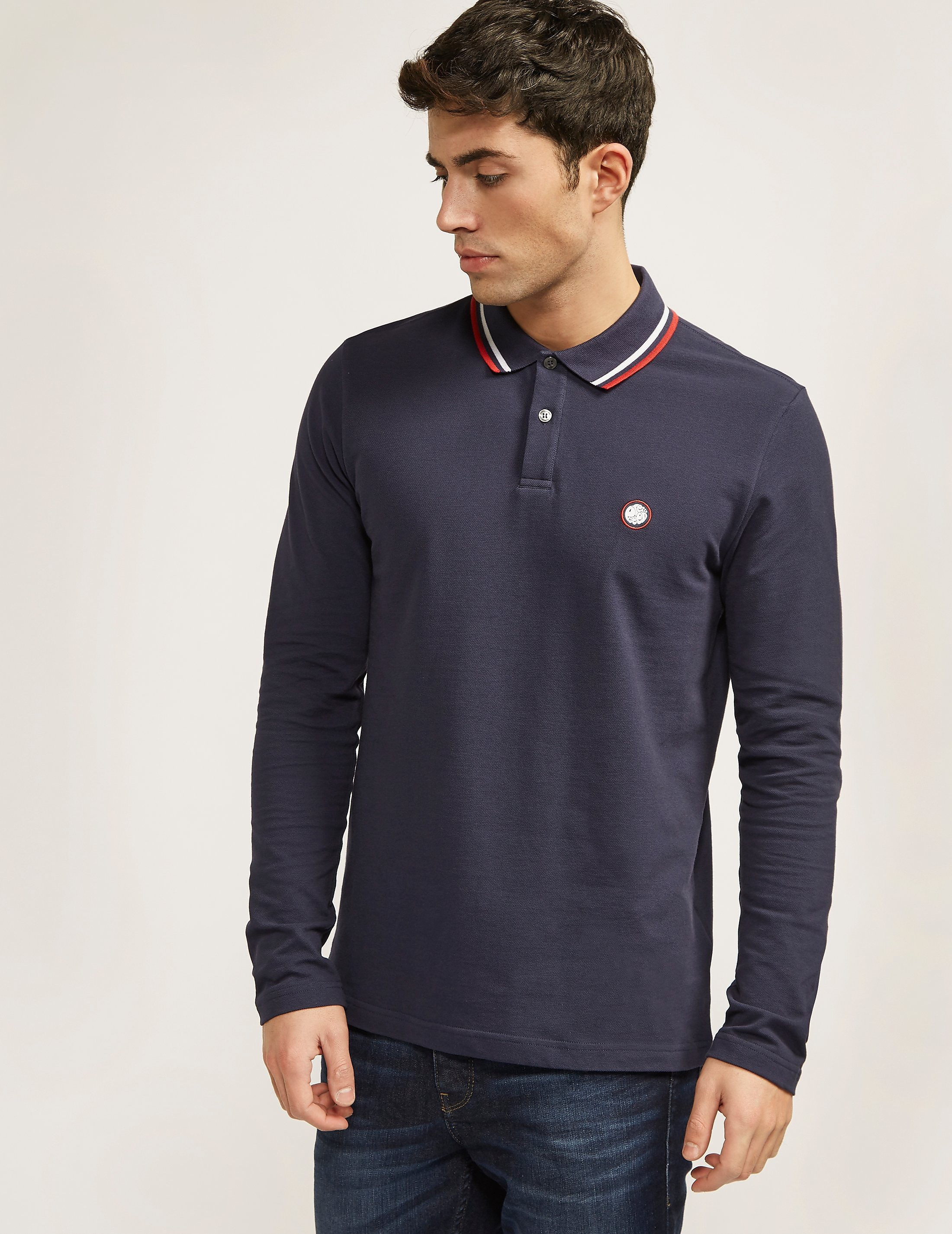 Pretty Green Tipped Long Sleeve Polo Shirt