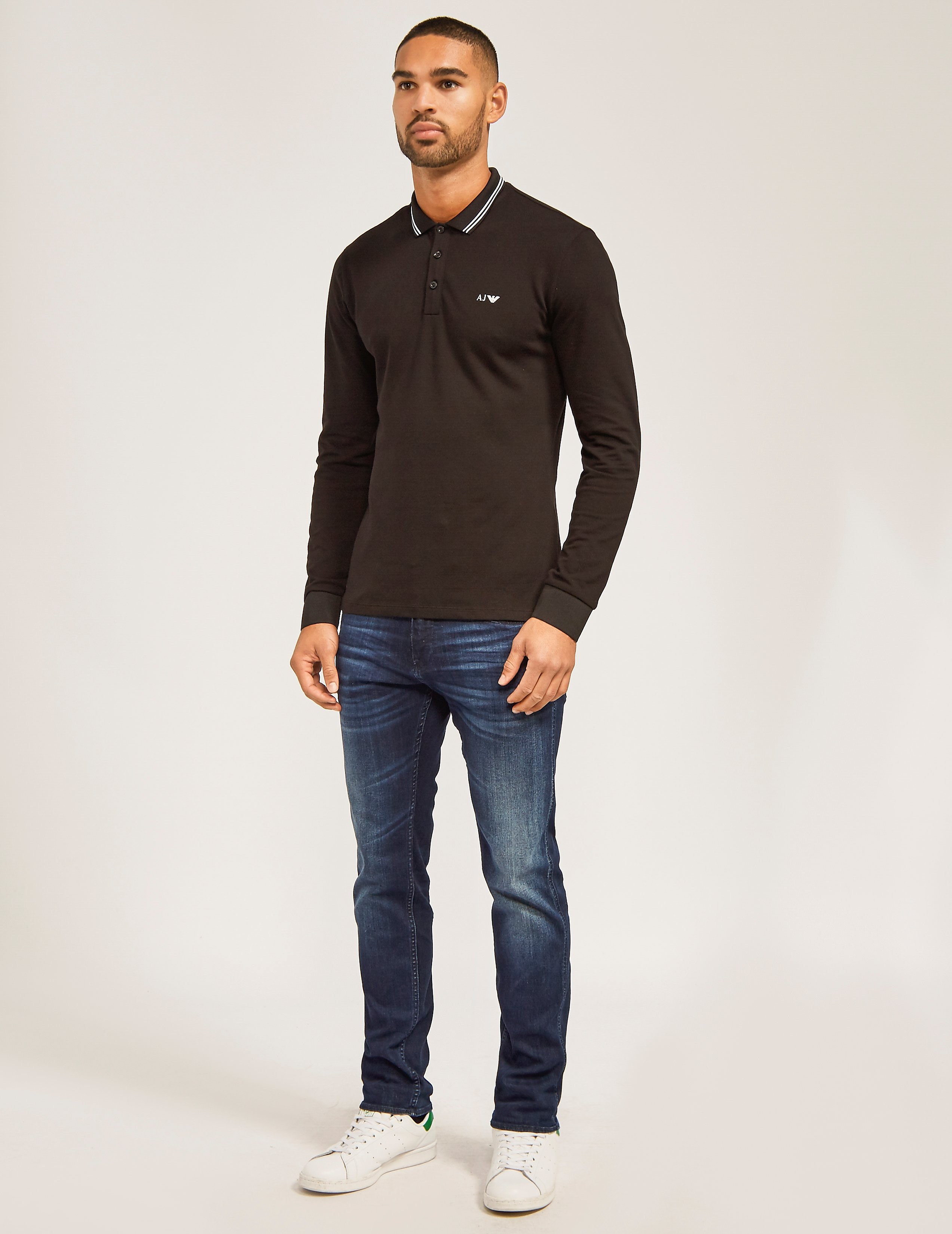 Armani Jeans Mod Fit Long Sleeve Polo Shirt