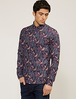 Pretty Green Long Sleeve Sefton Paisley Shirt