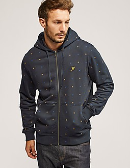 Lyle & Scott Micro Print Zip Sweatshirt