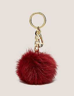 Michael Kors Key Charm Fur Pom Pom