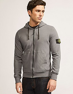 Stone Island Zip Through Hooded Dyed Sweatshirt