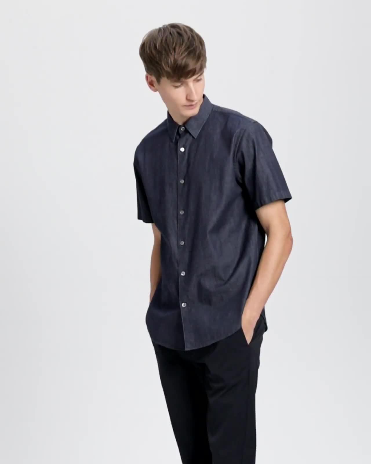 Relaxed Indigo Cotton Short-Sleeve Shirt
