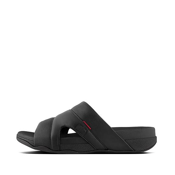 핏플랍 프리웨이 슬라이드 블랙 FitFlop  FREEWAY Mens Leather Pool Slides,Black