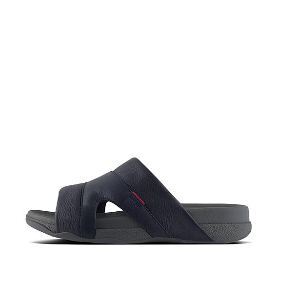 핏플랍 프리웨이 슬라이드 네이비 FitFlop FREEWAY Mens Leather Pool Slides,Supernavy