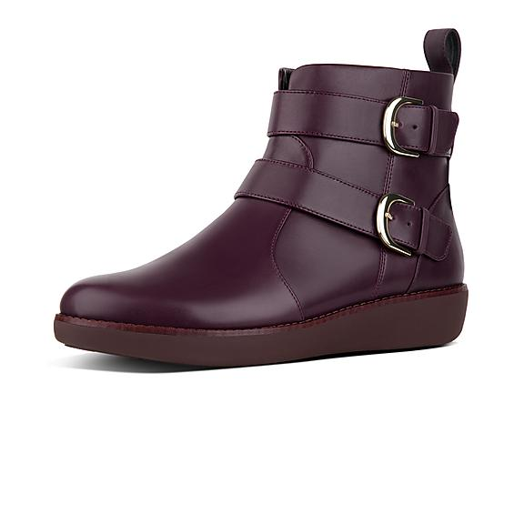 5c6fac38c137 Add to bag. LAILA. Double Buckle Leather Ankle Boots