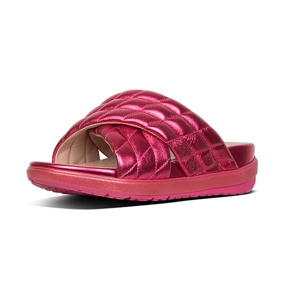 1bfc038756279 LOOSH LUXE. Add to bag. LOOSH LUXE. Cross Slide Metallic Leather Sandals