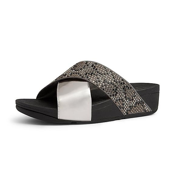 a6f55c24459 Add to bag. LULU. Leopard Crystal Cross Slides