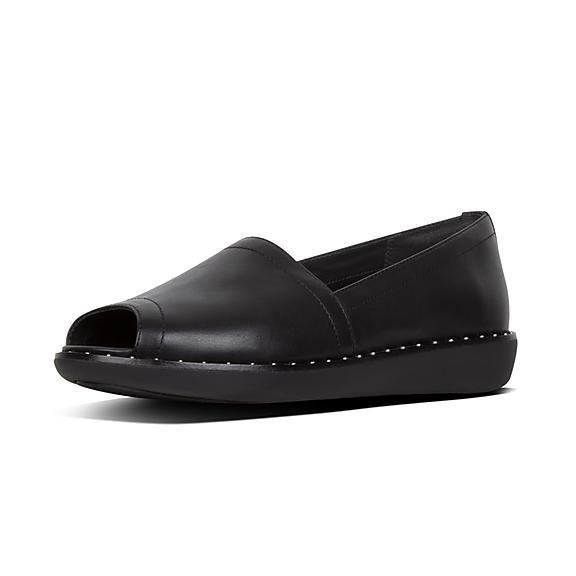 6e9c4d094 Add to bag. NADIA. Peep-Toe Leather Loafers
