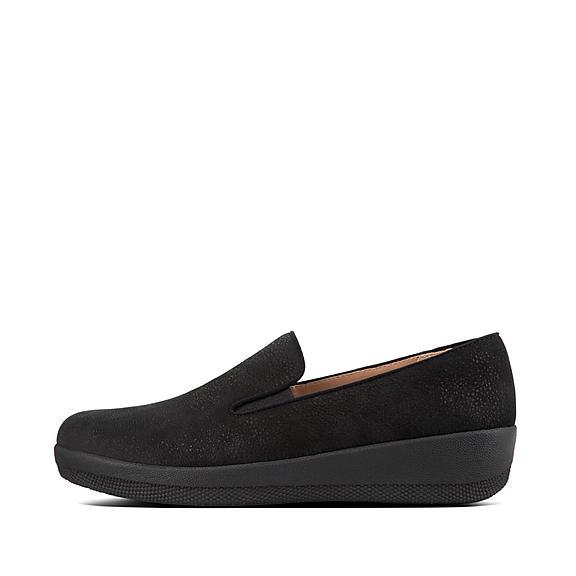 핏플랍 슈퍼스케이트 로퍼 FitFlop SUPERSKATE Tumbled Leather Loafers,Black