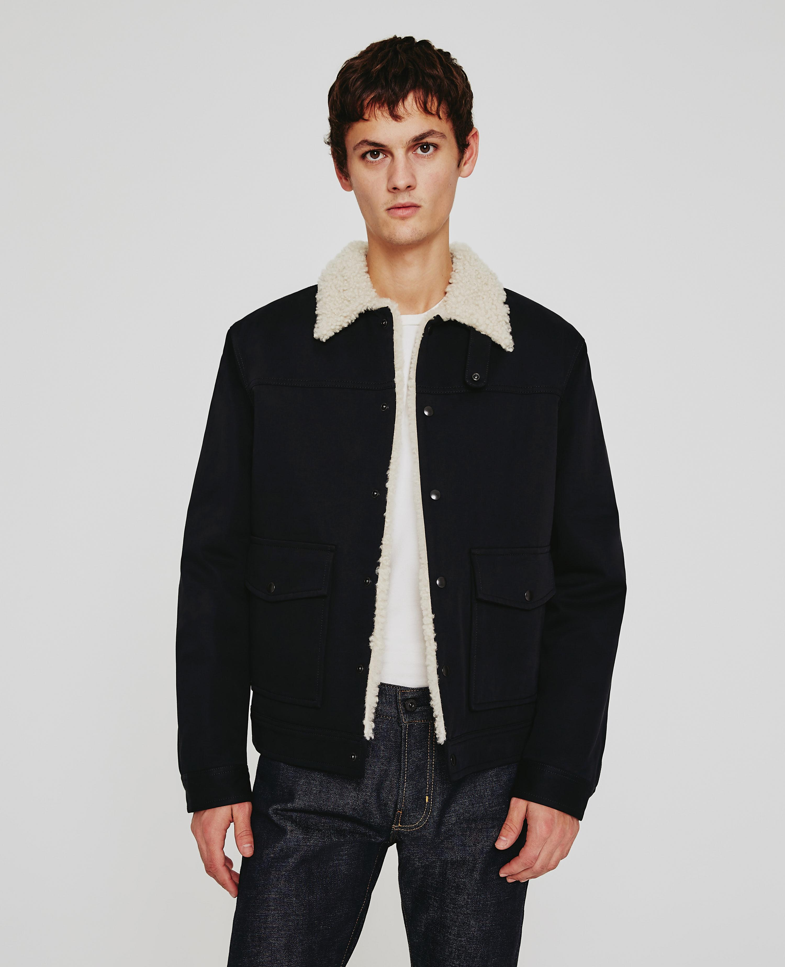 90fd56f4b732 The Silo Shearling Lined Jacket in True Black AG Jeans Official Store