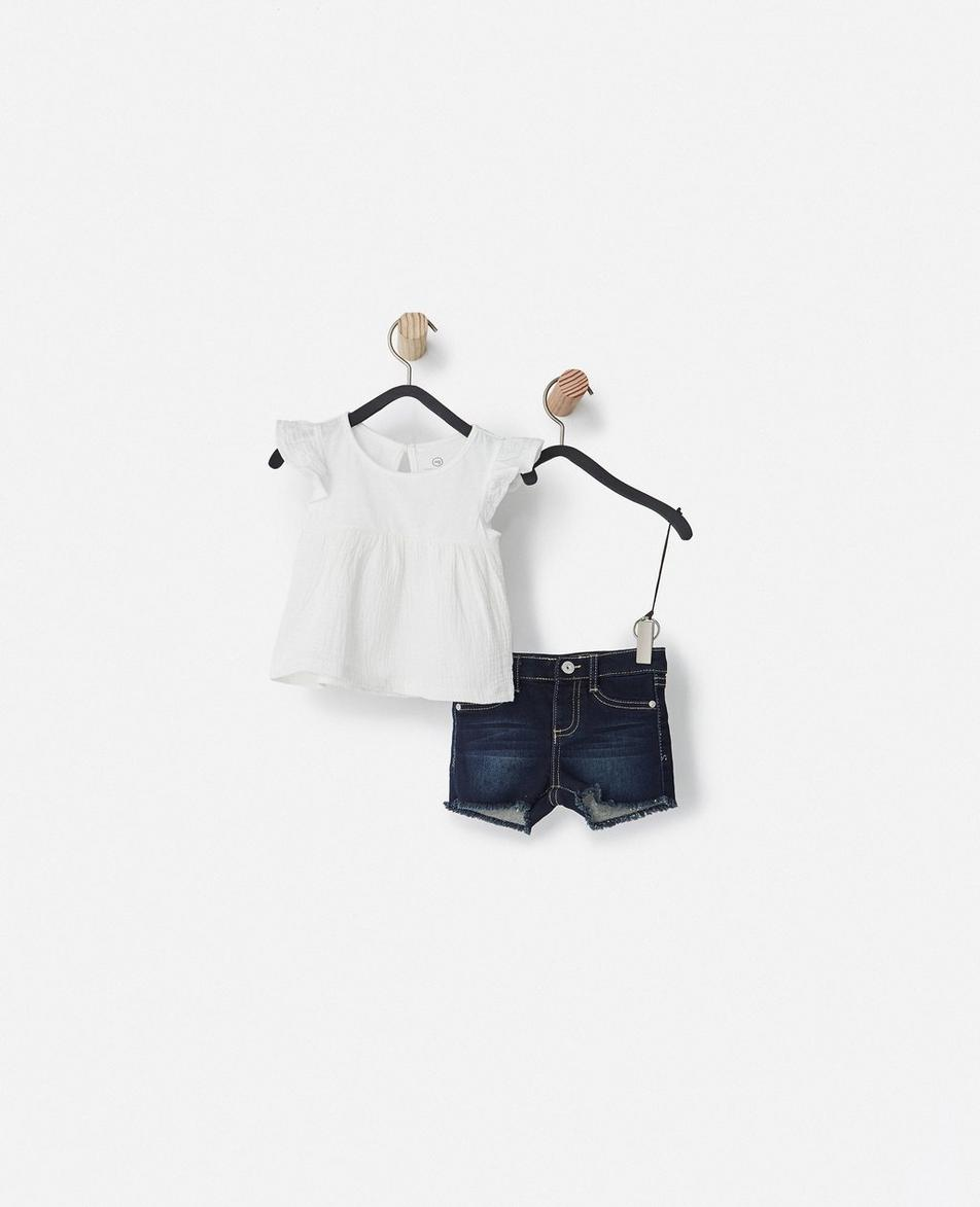 The Gauze Flutter Top w/Denim Short (Infant Girls)