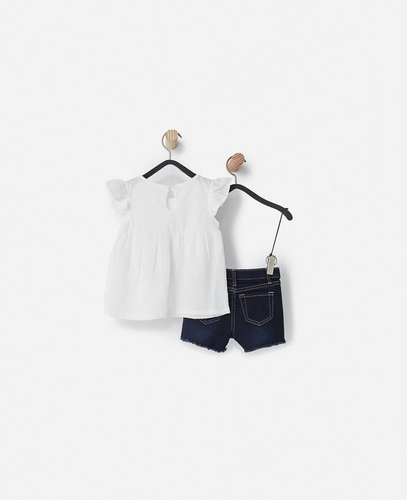 The Gauze Flutter Top w/Denim Short  (Little Girls)