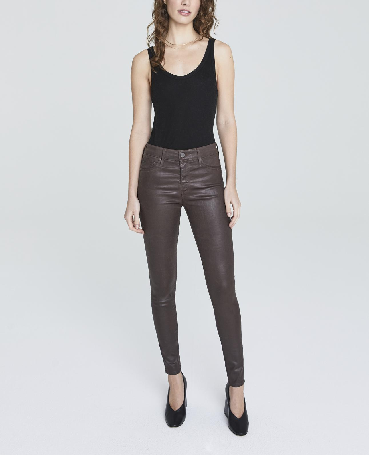 AG Adriano Goldschmied Womens Farrah Leatherette High-Rise Skinny Fit Ankle Pant