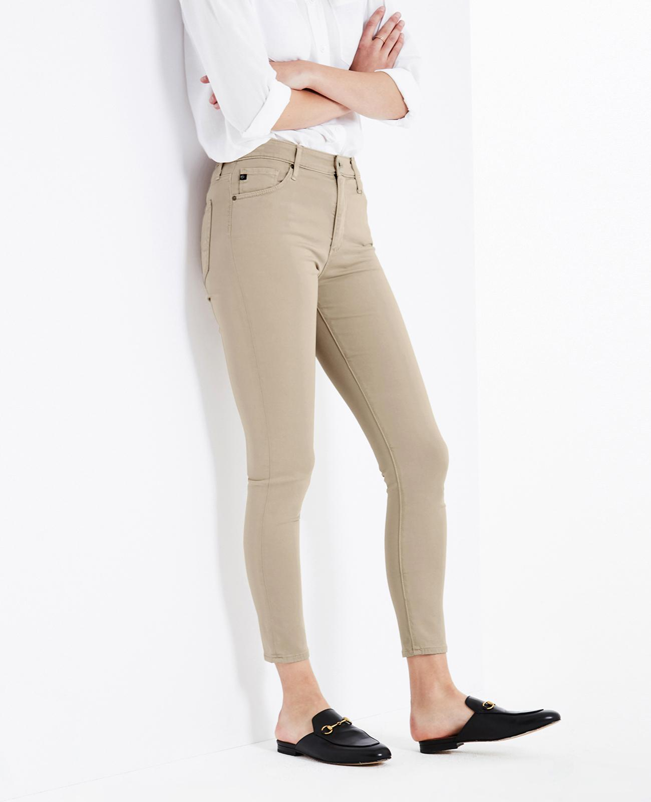 AG Adriano Goldschmied Womens Sateen Farrah High Rise Skinny Ankle