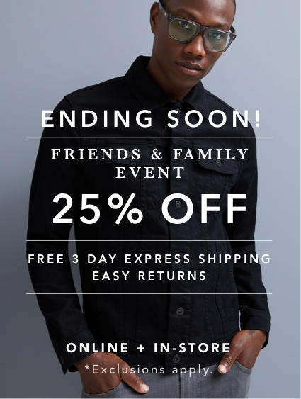 Shop Men's Friends & Family Sale 25% OFF