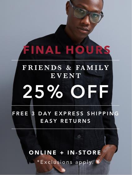 Shop Men's Friends & Family Sale 25% OFF