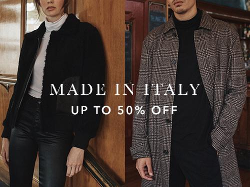 Save up to 50 percent off from the Made In Italy Collection