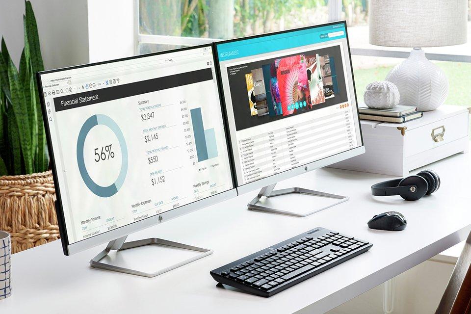 Image a dual screen desktop computer