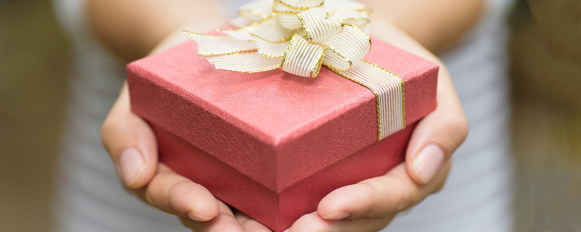 Image of a hand holding a red giftbox