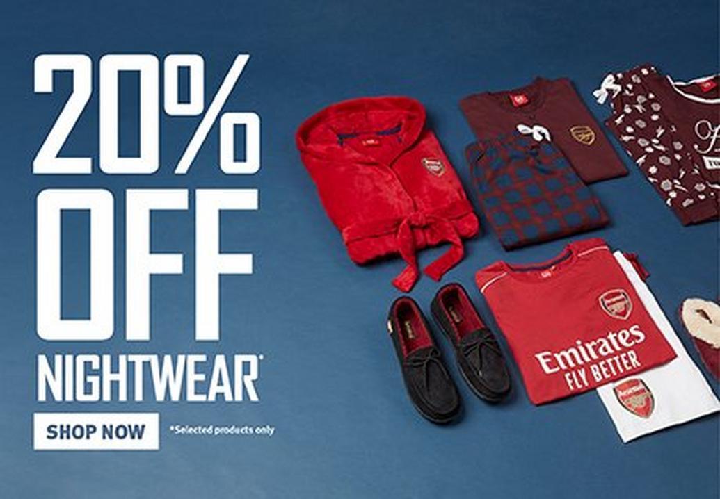 20% off Nightwear & Slippers