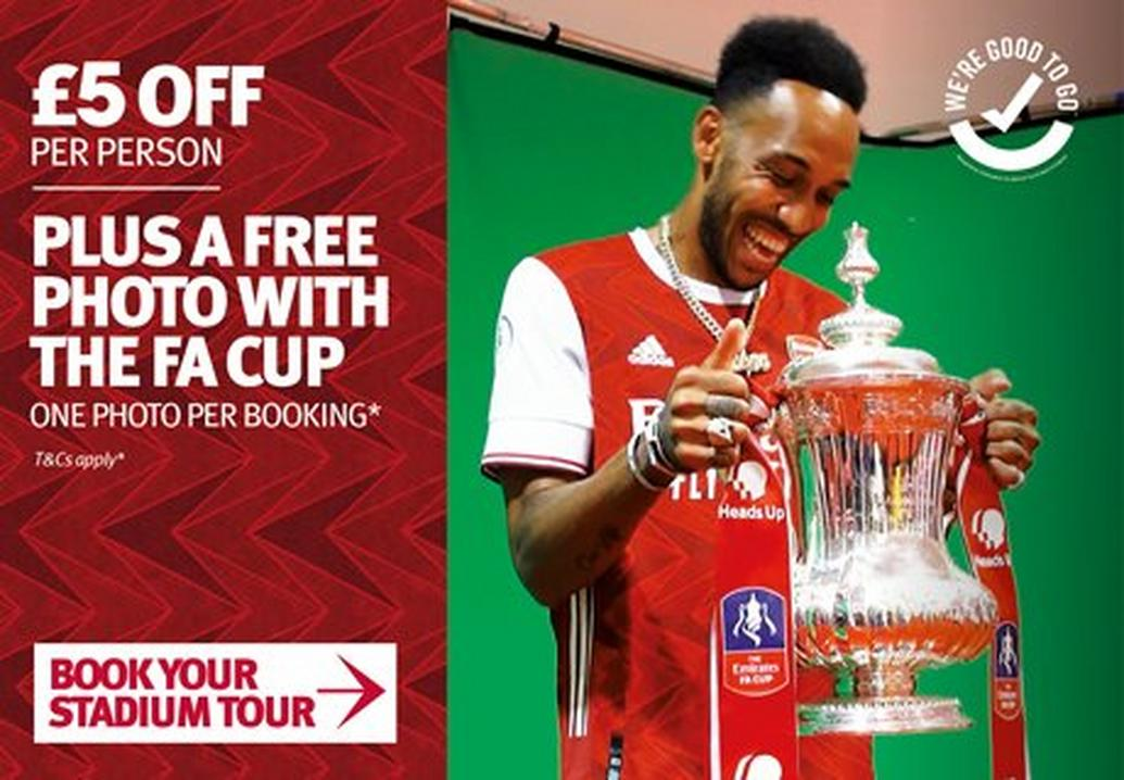 £5 off stadium tours plus free photo with FA Cup