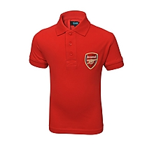 Arsenal Junior Red Crest Polo Shirt