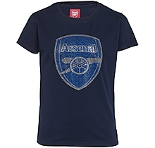 Arsenal Kids Crest Rhinestone T-Shirt (2-13yrs)