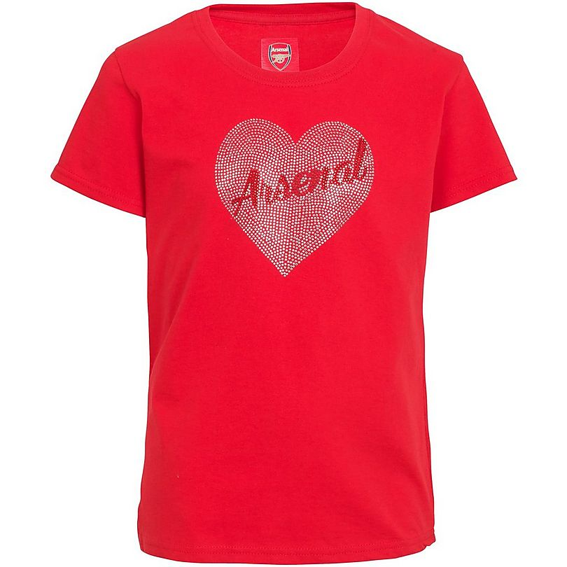 e8d558721 Arsenal Kids Heart Rhinestone T-Shirt (2-13yrs)