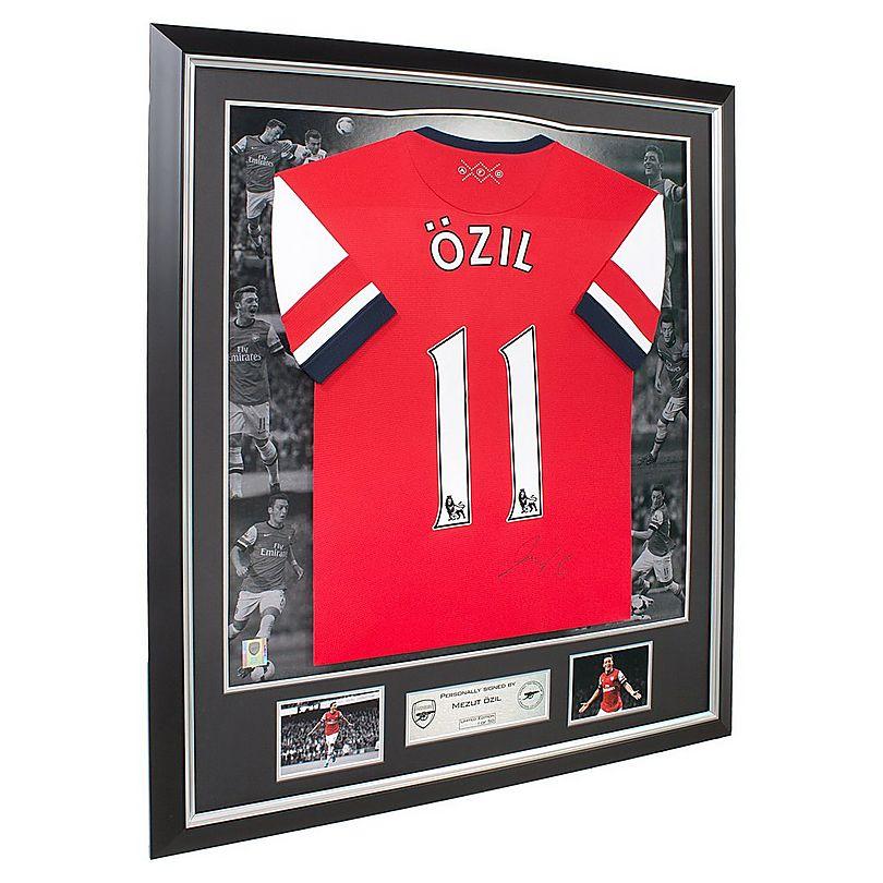 48cabf8601d Arsenal Framed Signed Ozil 13 14 Home Shirt
