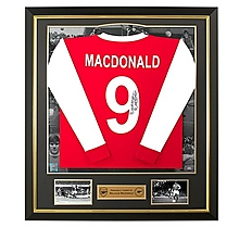 Arsenal Framed Signed Malcolm Macdonald Home Shirt