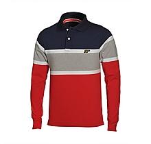 Arsenal Striped Long Sleeve Polo Shirt