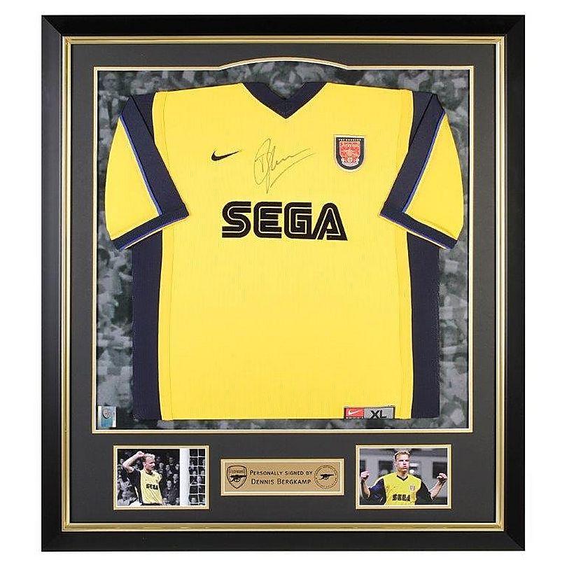san francisco 27b25 e1a04 Arsenal : Dennis Bergkamp Framed Signed 1999/01 Away Shirt