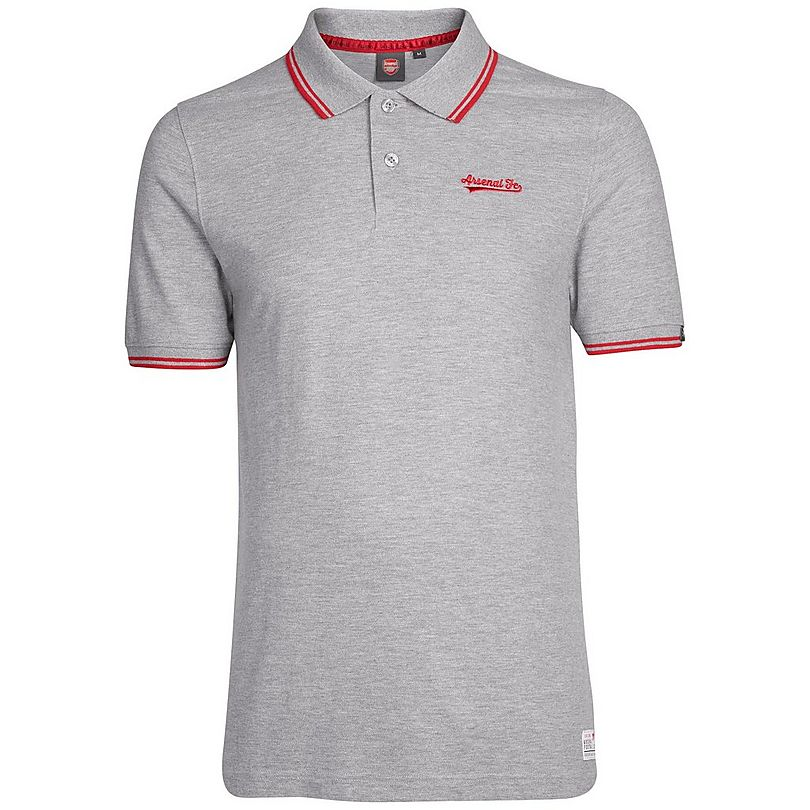 Arsenal Grey Embroidered Polo Shirt Official Online Store
