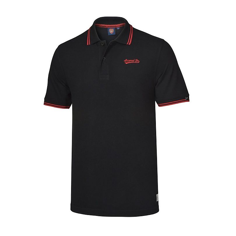Arsenal mens black embroidered polo shirt official for Mens black shirts online