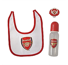 Arsenal Baby Soother With Bottle & Bib Gift Set
