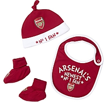 Arsenal Baby Hat with Bib and Bootee Set