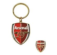 Arsenal Crest Keyring and Badge Set