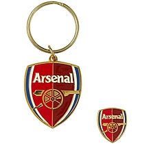 Arsenal Crest Keyring and Badge Set